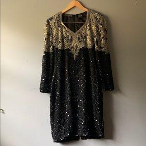 Vintage Beaded Embellished Black Cocktail Dress
